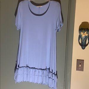 easel blue medium full dress  3 layers of ruffled,